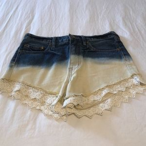 Free People Ombre Mid Rise Lace Denim Shorts, 26